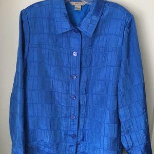 TanJay Blazer/Jacket Women's Size 16 Shiny Blue